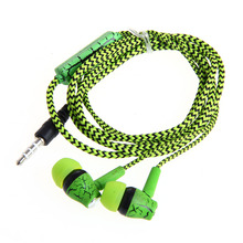 3.5mm With Microphone Earphones Crack Braided Headset For iPhone for Samsung - L060 New hot