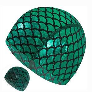 Mermaid Fabric Swimming Cap Swiming Pool Protect Long Hair Ears Hat Swim Bathing Hats Nylon Caps Green for Women Men Adults 2019(China)