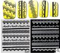 24 pacote/lote 3D Nail Art Adesivo Decalque água Prego Tatuagem Adesivos, bonita do laço Preto e branco da arte do prego água decalques Decoração