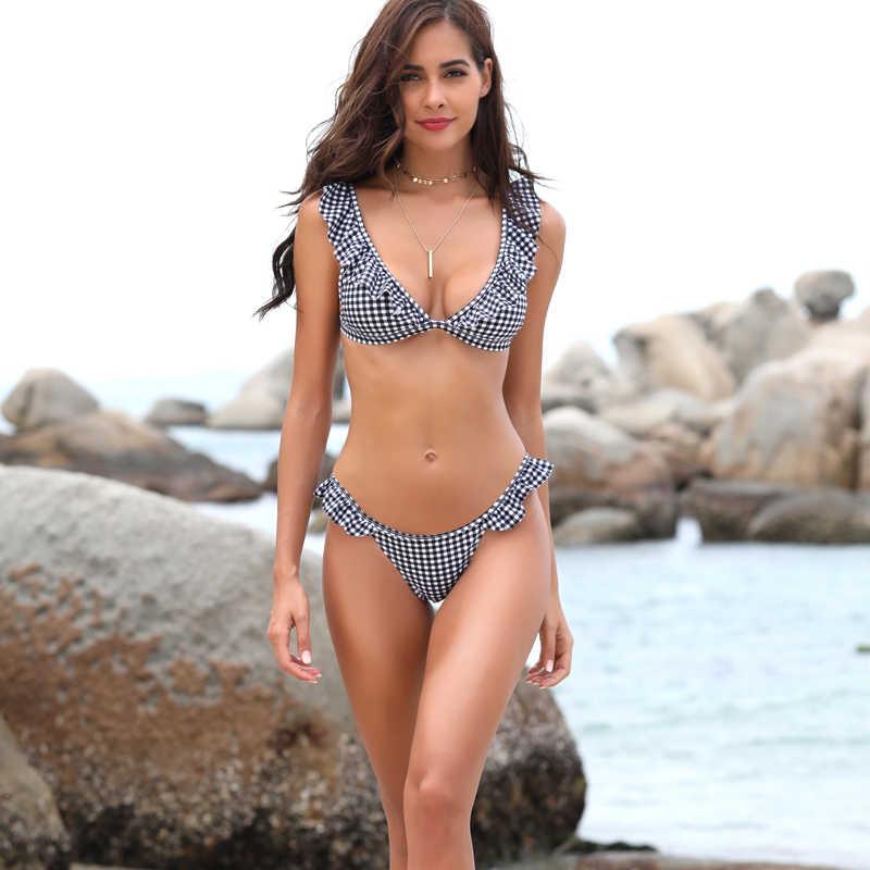 0573735782b0a ... SHEKINI Women s Ruffles Flounce Cute Bikini Two Piece Swimsuit Bathing  Suits ...