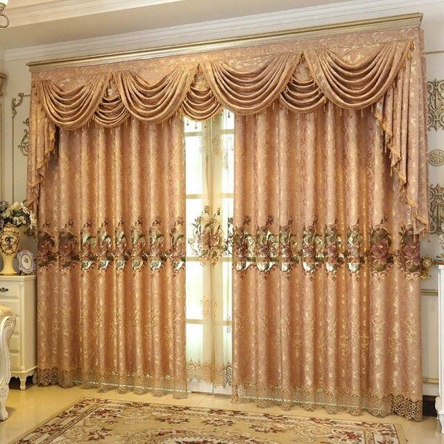 Helen Vorhang Rosa Gold Braun Bestickt Perlen Vorhänge Für Wohnzimmer Luxus  Europäischen Stil Sheer Vorhänge Valance V 0622