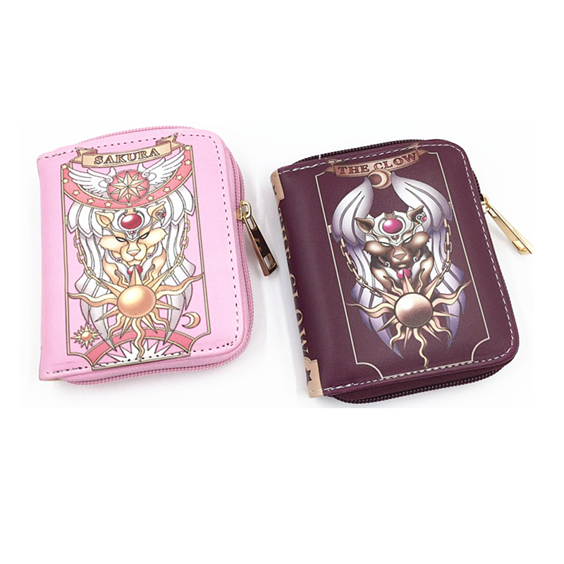 china wholesale CLAMP sakura cute short women Clutch bag wallet Coin Change pink Key Purse Gift Handbag four models