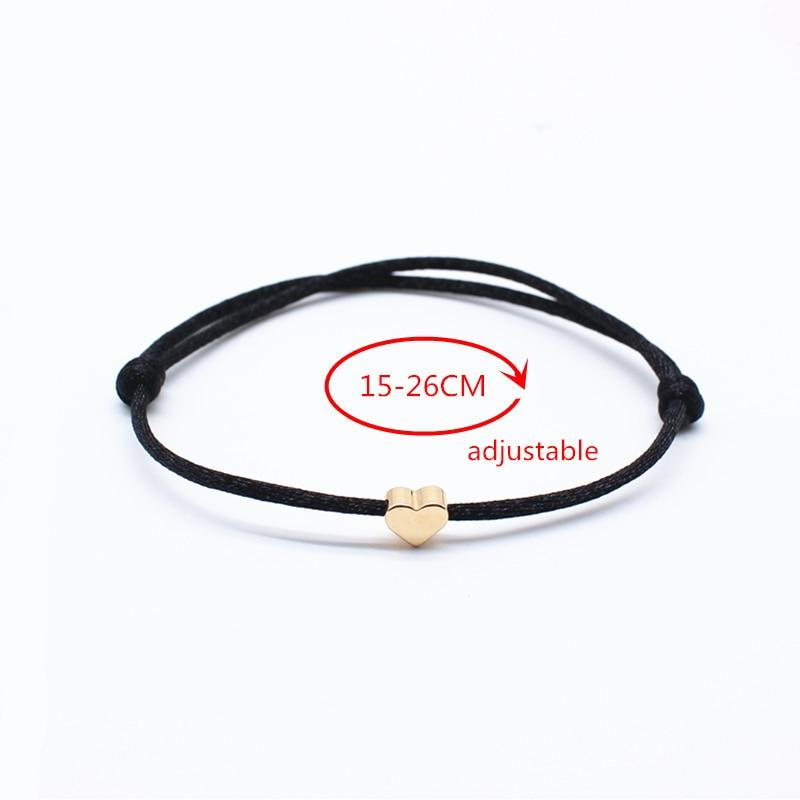 NEW Simple Charm Bracelet black color Minimalist Adjustable Rope String Lucky Bracelet heart star For Women lovers bead jewelry 1