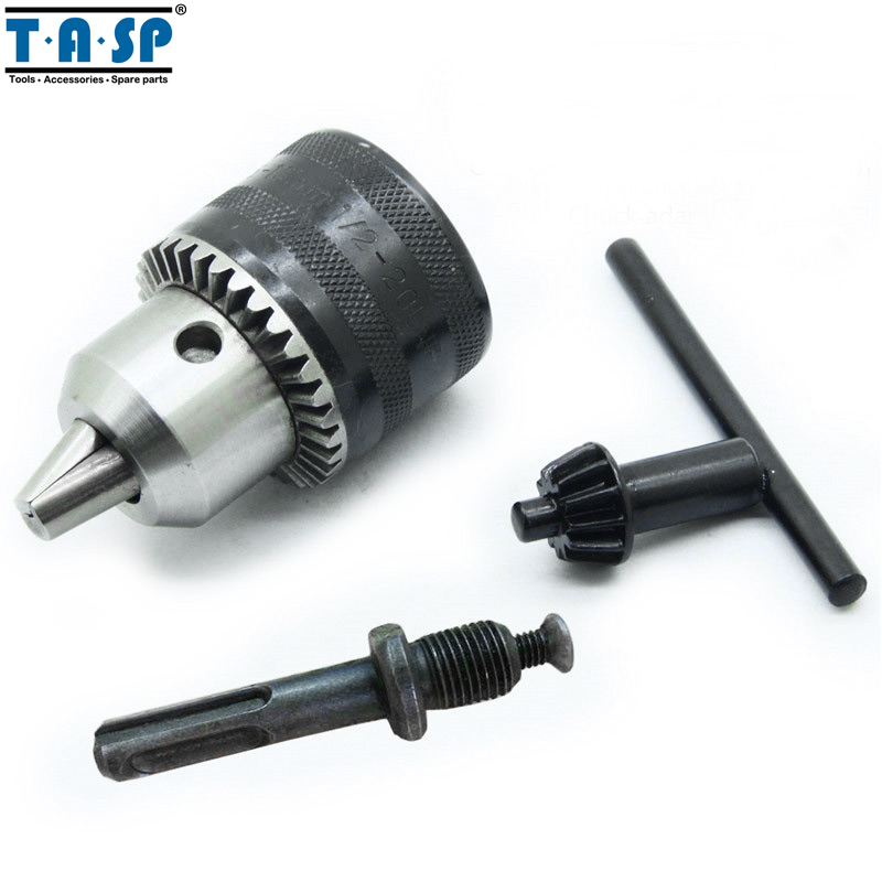 "TASP 13mm Keyed Drill Chuck 1/2"" 20UNF with Key and Adapter Electric Drill Accessories"