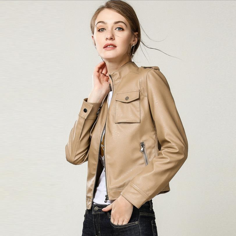 England stand collar pu   leather   jackets female was thin locomotive   leather   jackets Кожаная одежда with pockets wq2143 wholesale