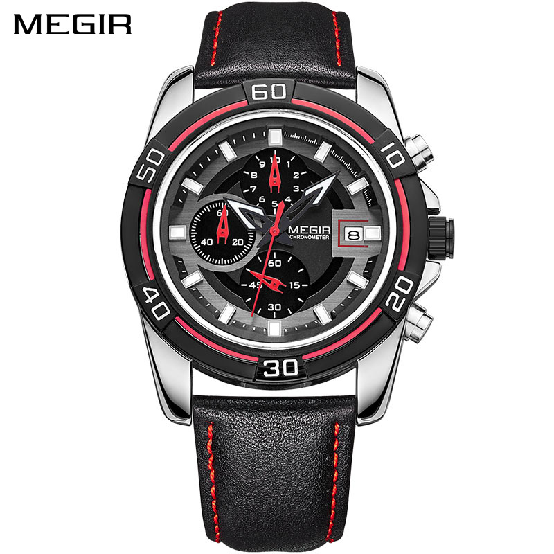 MEGIR Brand Men Business Watch Luxury Leather Strap Chronograph Quartz Military Wrist Watches Clock Men Relogio Masculino xinge top brand luxury leather strap military watches male sport clock business 2017 quartz men fashion wrist watches xg1080