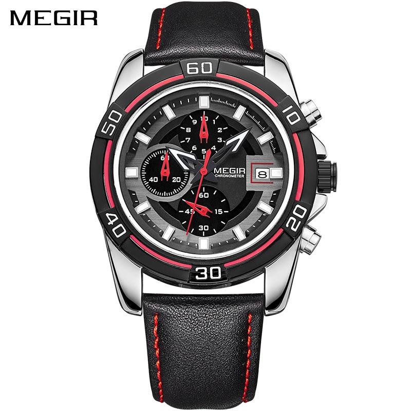 цена на MEGIR Brand Men Business Watch Luxury Leather Strap Chronograph Quartz Military Wrist Watches Clock Men Relogio Masculino 2023