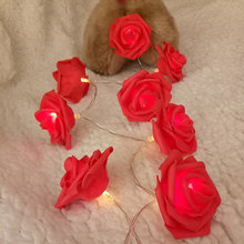 Classic rose garland led string light, Handmade floral holiday string lights, Wedding party light decoration,Flower arrangement(China)