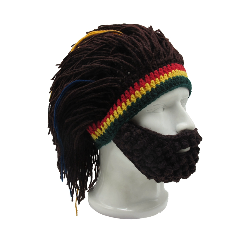 Handgefertigte Herren Rasta Hut mit Bart Jamaika Beanie Stricken ...