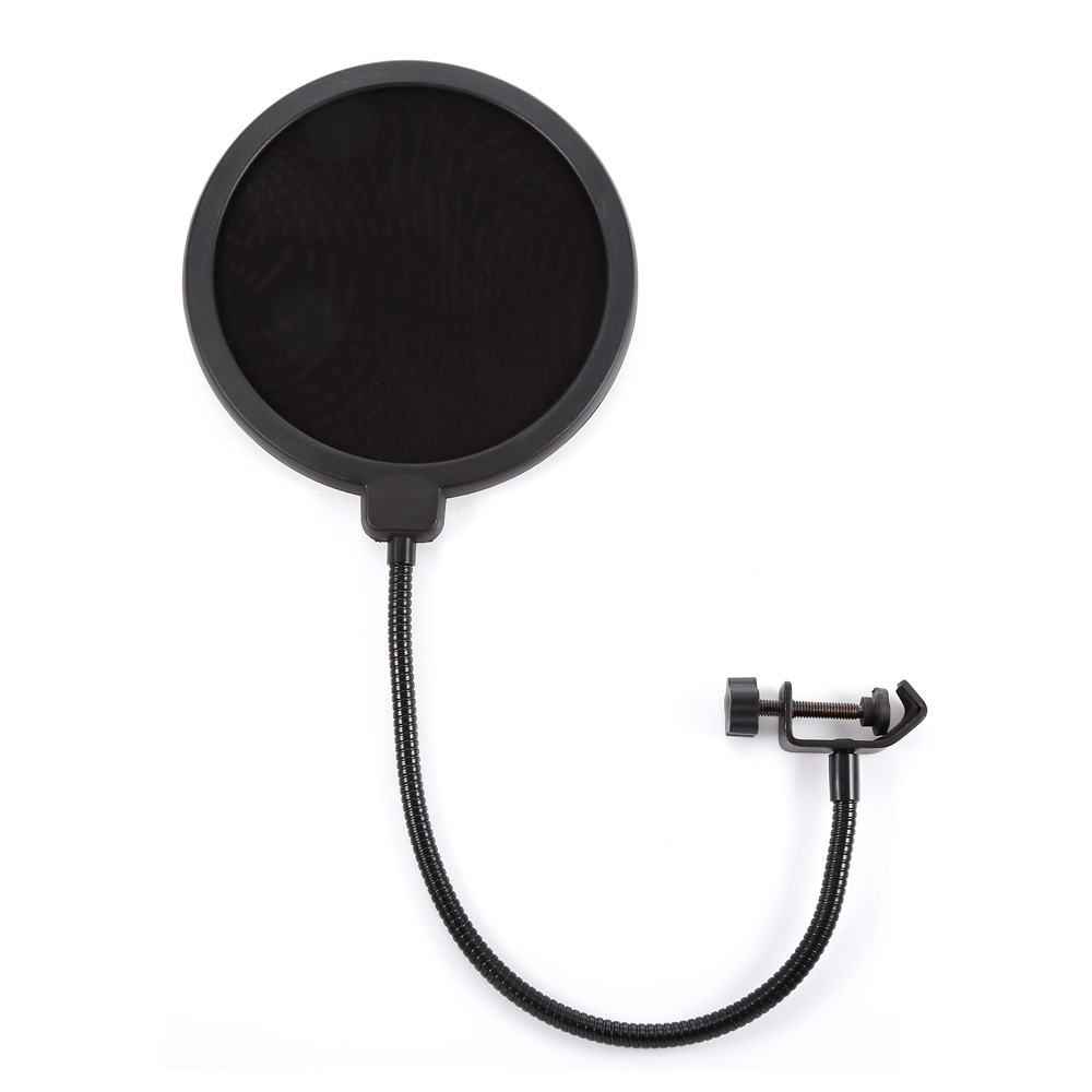 все цены на Professional MPF-6 6-Inch Clamp On Microphone Pop Filter Bilayer Recording Spray Guard Double Mesh Screen Windscreen Studio