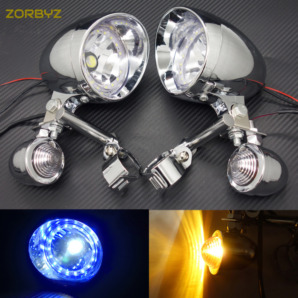 LED Motorcycle Modified Passing Driving Spot Fog Lamps Turn Signal Light For 12V