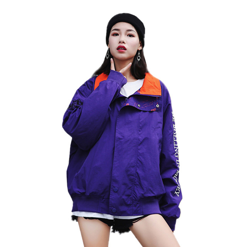 Otoño De Oversize violet Del Flojo Bordado Señoras Z90 Blue Larga 2018  Chaquetas Abrigos Manga Mujer Carta Abrigo Moda Collar Harajuku Stand  0qEwSZxR f8ebe0ed658b