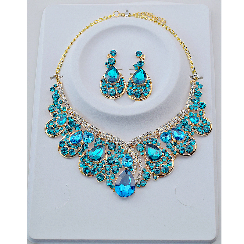 10pcs Bridal Jewelry Sets Crystal Rhinestone Gold Color Wedding Necklace and Earrings Set for Women 2018 New Trendy Jewelry Sets attractive rhinestone embellished necklace and a pair of earrings for women
