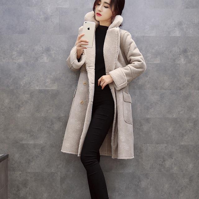 Mulheres de inverno de espessura Cashmere camurça casaco jaqueta parka de algodão acolchoado mulheres jaqueta de inverno longa seção de Slim feminino roupas TT279