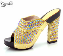 Capputine New Fashion Lady Shining Rhinestone Female Pumps Shoes African Style High Heels Shoes For Party Uesage Size 37-43
