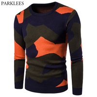 Camouflage Sweater Men 2017 Brand New Casual Mens knitted Sweaters Autumn Winter Long Sleeve Slim Fit Crochet Pullover Sweater
