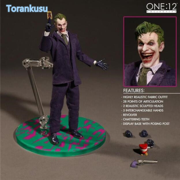 Figurine Batman Joker vêtements réels figurine mobile en PVC 1:12 figurine Batman Joker Mezco poupée de collection