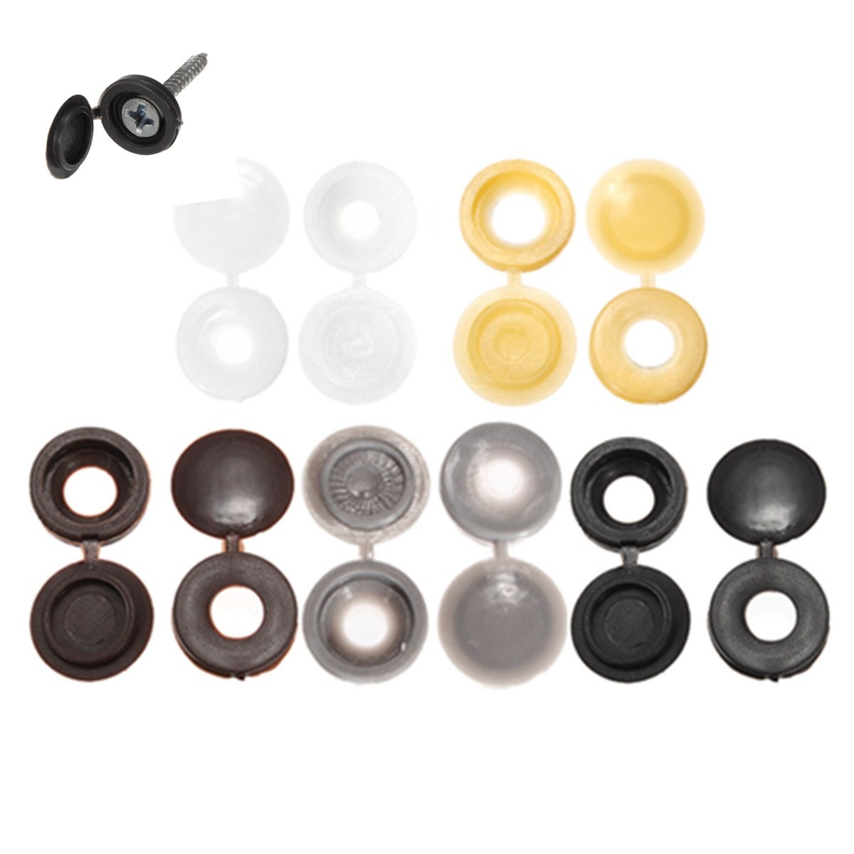uxcell 50pcs Khaki Hinged Plastic Clips Screw Fold Caps Cover 4mm for Auto Car Decor
