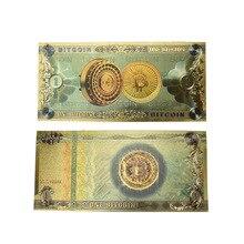 Горячая одна Биткоин банкнота Золотая фольга BTC Биткоин Монета пластиковые карты для сбора