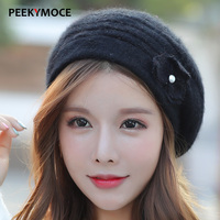 Winter Hats For Women Beret Hat Knitted Wool Beret Fur Pompom Rabbit Hair Hat Solid Colors