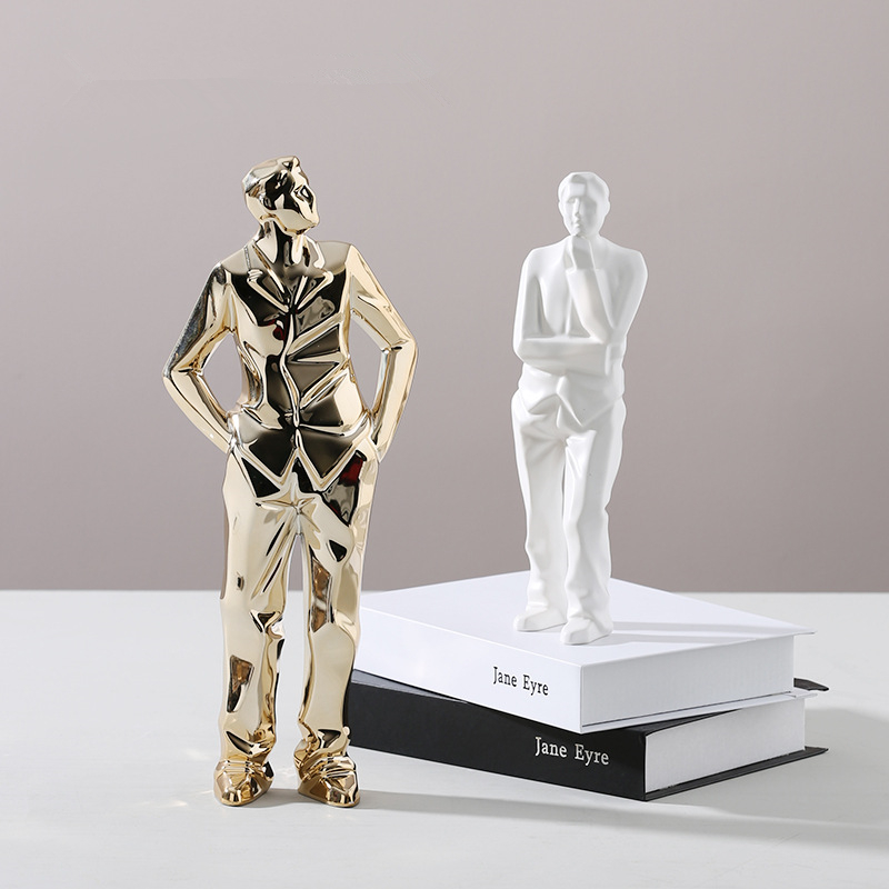 Abstract Geometric Origami Gloden People Statue White Ceramic Desktop Crafts Sculpture Home Decoration Ornaments Figurine 113
