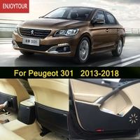 Car Pads Front Rear Door Seat Anti kick Mat Car styling Accessories For Peugeot 301 2013 2014 2015 2016 2017 2018