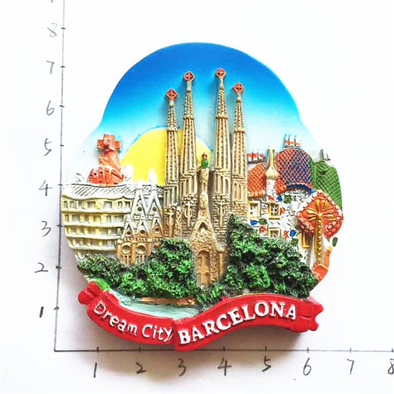 Barcelona, Spain Tourist Travel Souvenir 3D Resin Decorative Fridge Magnet Craft GIFT IDEA