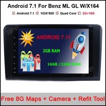 2 Din 9 Pulgadas Android 7.1.1 Radio de Coche Para Mercedes/Benz GL ML CLASE ML350 ML500 W164 X164 GL320 Canbus Wifi GPS BT de Radio