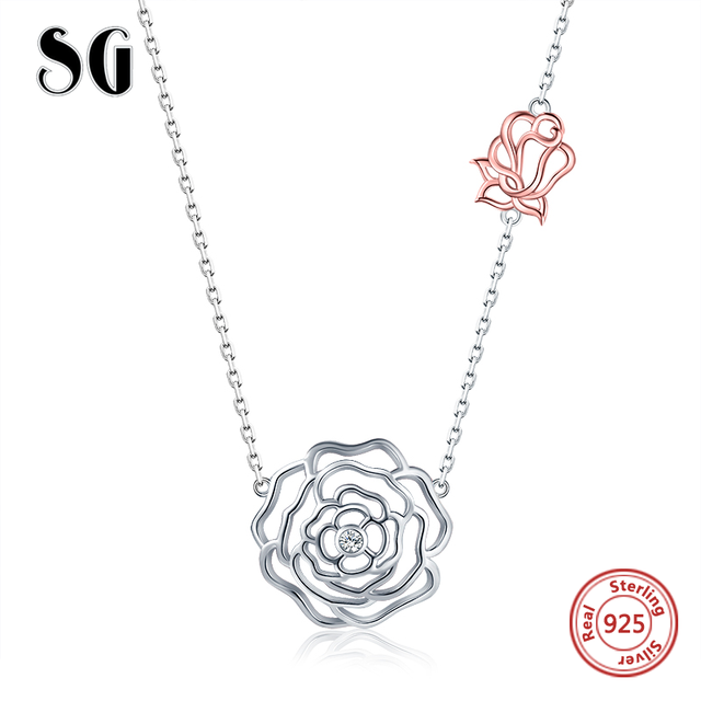 SG Bạc 925 Hoa Hồng Vòng cổ bông hoa Cutout Thời Trang Mặt Dây Chuyền Vòng Cổ cưới Trang Sức Nữ Cô Gái Nữ