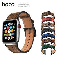 HOCO Horloge Band voor Apple Horloge Bandje Serie 5 4 3 2 1 Bamboe Patroon Lederen Polsband voor iWatch 44mm 42mm 40mm 38mm