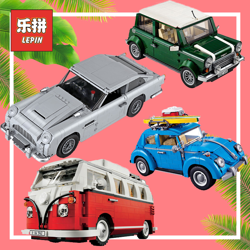 Lepin 21046 Aston Technic Racing Car Volkswagen T1 Camper Beetle Cooper Blocks Toy Compatible 10220 10252 10242 10262 Lepin Car