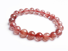 9mm Natural Red Hair Rutilated Quartz Round Beads Bracelet Women Men Energy Jewelry Love Gift Crsytal Fashion Stone AAAAA