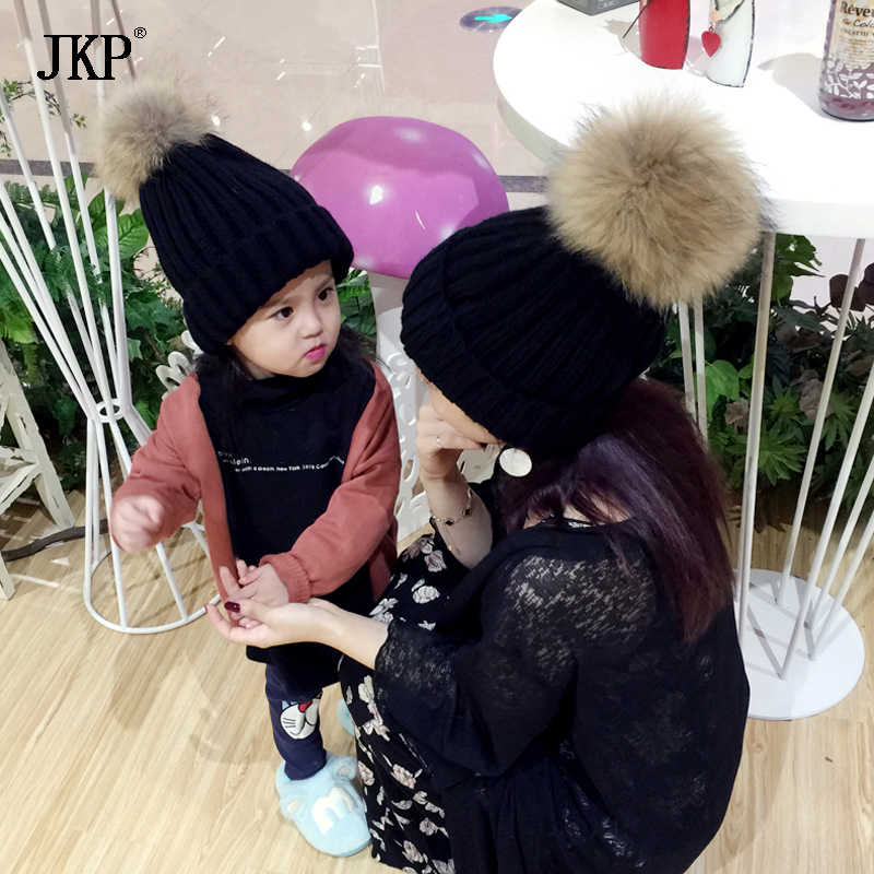 JKP 2018 new style natural real fur braid ball fur hat boys and girls knitted warm baby cotton hats and caps outdoor