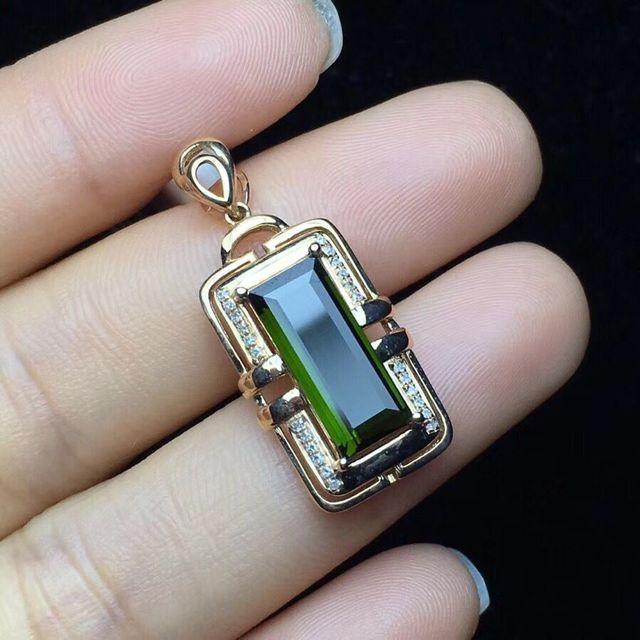 Tourmaline pendant 18K Golden Real diamond to build natural tourmaline