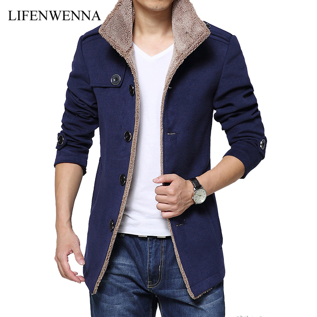 ae1406dcb5 2017 Fashion Brand Men Winter Jacket Single Breasted Stand Collar Slim Fit  Mens Pea Coat High