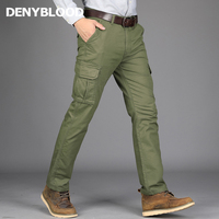 Denyblood Jeans 2017 Autum Winter Mens Cargo Pants 100 Cotton Army Green Limitary Trousers Working Clothing