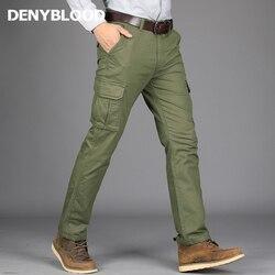Denyالدم الجينز 2017 الخريف الشتاء الرجال السراويل البضائع 100% القطن الجيش الأخضر سراويل فردية ملابس العمل سراويل تقليدية 3509