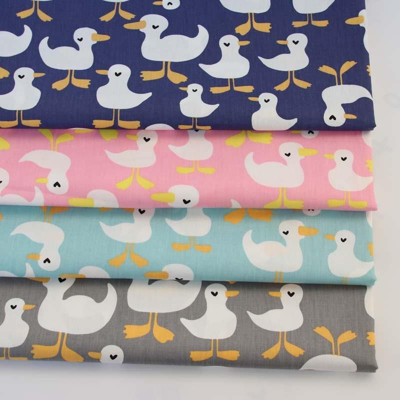 100% cotton twill cloth cartoon cute blue gray pink green white duck fabric for DIY crib apparel quilting handwork decor tela