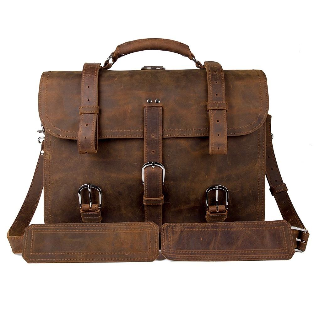 J.M.D იშვიათი Crazy Horse ტყავის ჩანთები მამაკაცის ლეპტოპის ჩანთა სამოგზაურო ჩანთები უზარმაზარი ჩანთა 7072R