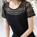 Плюс Размер Blusas Femininas 2017 Мода Лето Женщины Повседневная О-Образным Вырезом Блузки Кружева Лоскутные Рубашки Женщины Топы Дешевая Одежда Черный