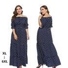 Summer Maxi Dress Casual women slash neck ruffles polka dot maxi dress Vestidos maxi Plus size dresses for women 4xl 5xl 6xl