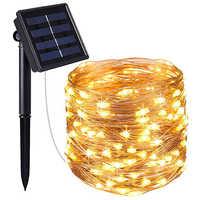 Luz LED Solar de jardín 22M 12M 10M 5M USB Lámpara de hadas LED cadena luces vacaciones Navidad guirnalda de fiesta luces de Patio impermeables