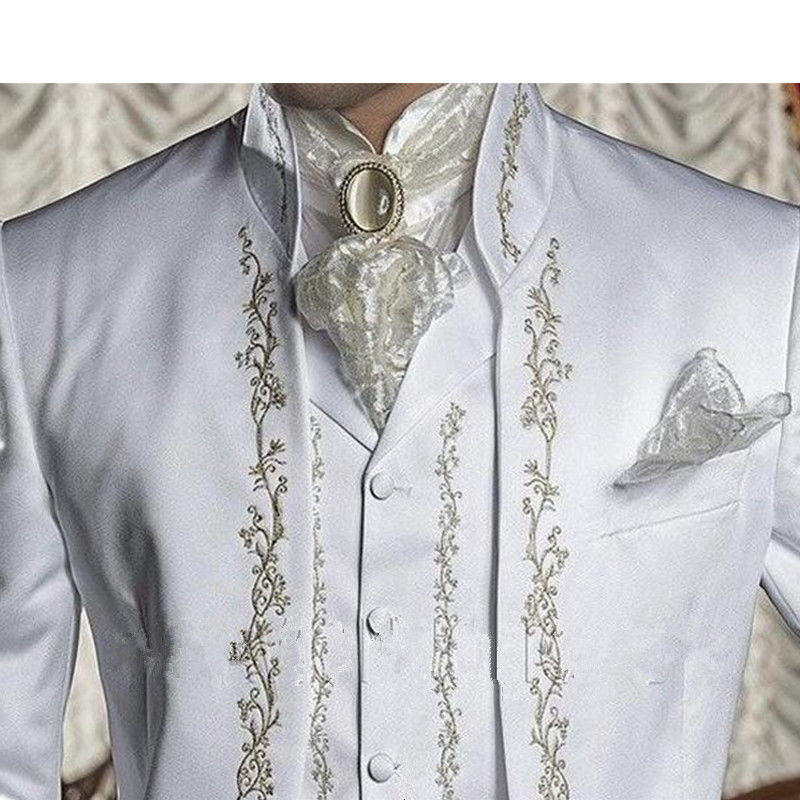 Male Shawl Lapel White Black Red Embroidered Prom Dress Suits Stage Singer Costume Homme Mens Suits With Pants vest - 2