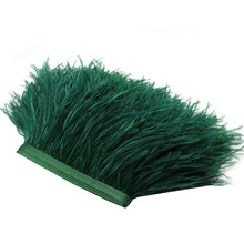 2M Fluffy Leather Ostrich Hair Simulated Trims Fringe Satin Ribbon Tape For Dress Costumes DIY Decoration (Blackish Green)(China)