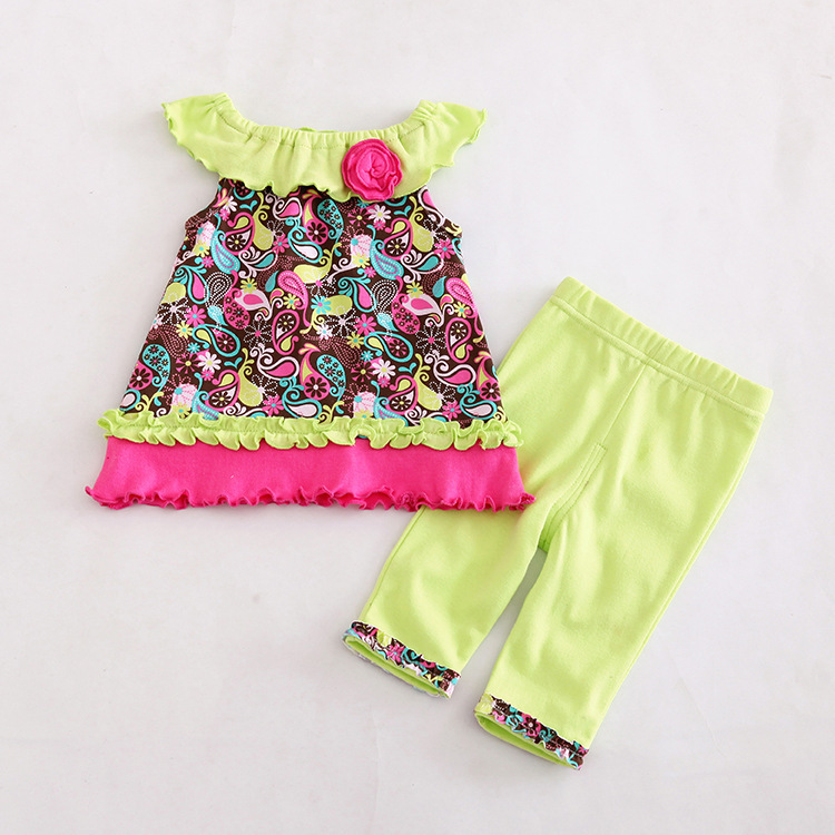 Summer Fashionable Baby Girls 2 piece Sets Bohemian Top&Pant Toddler Girls Clothes Suit Lovely Print Infant Clothing sets