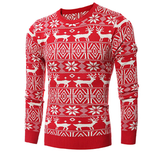 High Quality Autumn Winter Mens Knitted Sweater Christmas Cute Moose Pullover O Collar With Slim Fit Pullover Sweaters For Man