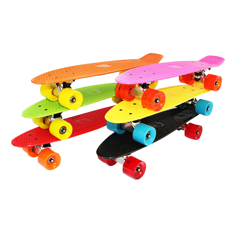 8color 22in PP Fish Skateboard Women Brush Street Plate Single Rocker Highway Skateboard Small Skate 60 x 45mm PU wheel Skate 4 wheel electric skateboard single driver motor small fish plate wireless remote control longboard waveboard 15km h 120kg