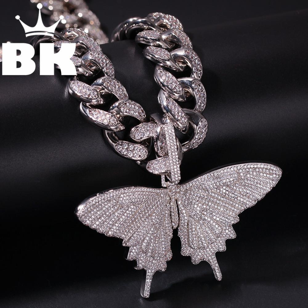 HIP HOP personnalisé papillon pendentif collier combinaison mots nom avec grand fermoir chaîne plein glacé cubique zircone bijoux