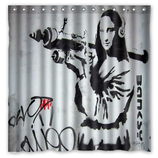 Banksy Graffiti Shower Curtain Waterproof Fabric For The Bathroom Polyester Bath Screen Room Product 180x180cm