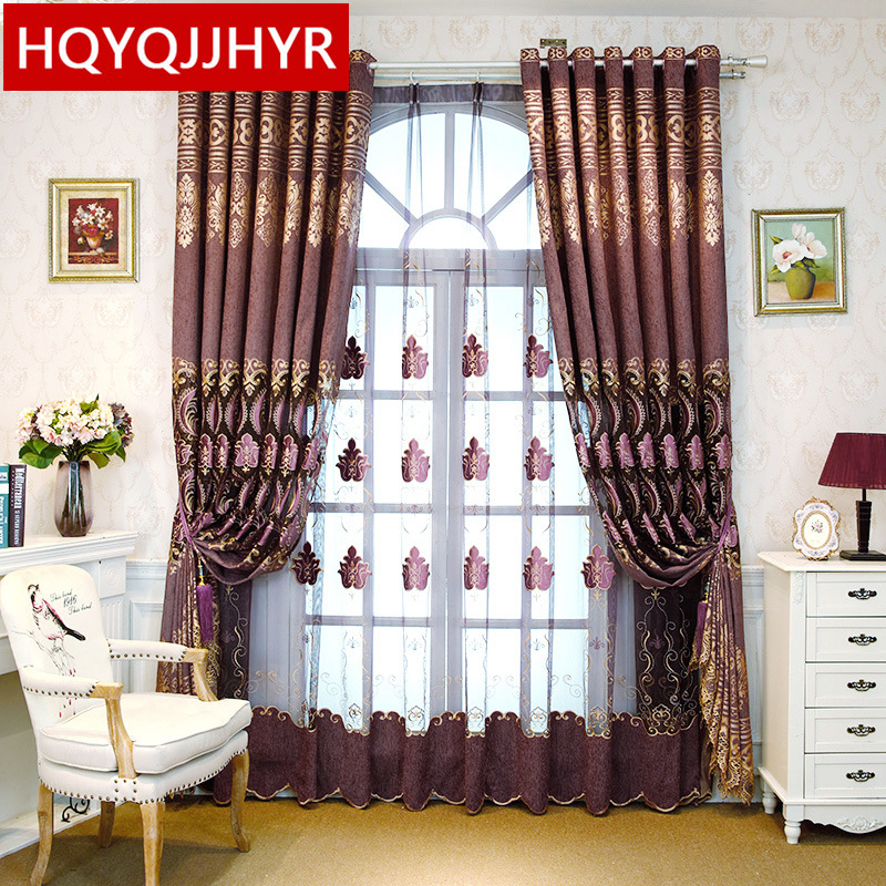 luxury european style purple embroidered shading decorative curtains for living room luxury custom villa curtains for - Decorative Curtains